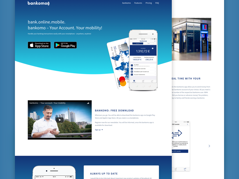Online Banking Website clean landingpage svg gradient blue bank android ios app website
