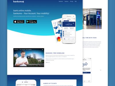 Online Banking Website clean landingpage svg gradient blue bank android ios app website