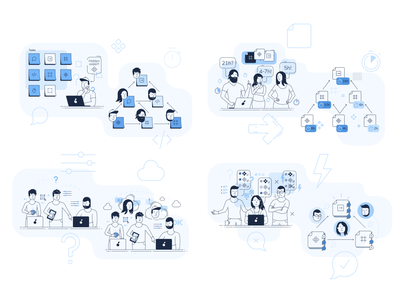 Product design illustrations product design collaboration people clean illustration simple flat minimal icon line