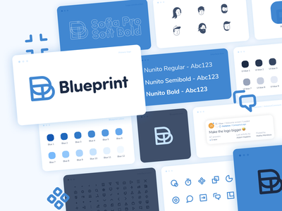 Blueprint styleguide ui typography minimal logo illustration icon components clean branding app
