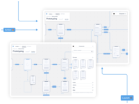 Blueprint UX prototyping wireframes prototype concept clean ux ui app userflow flow arrow product product design figma minimal clean ui component