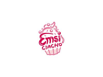 Emsi Ciacho logo brand identity symbol cupcake sweet cookie food illustration typography vector dream