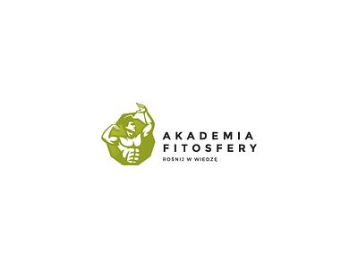 Akademia Fitosfery logo brand identity symbol study bodybuilder gym illustration icon human simple