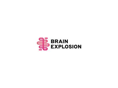 Brain Explosion studio concept idea one-line ux research explosion brain symbol identity brand logo
