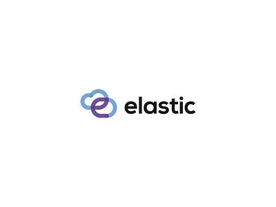 Elastic software transparent one-line intranet web design app cloud symbol identity brand logo