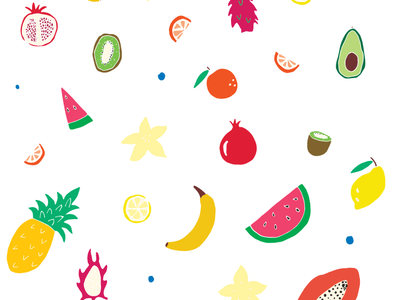 Tropical Fruit 🍉🍍🥑 repeating pattern fruit pattern making vector branding iconography drawing flat illustration pattern hand drawn color illustrator graphic design design illustration