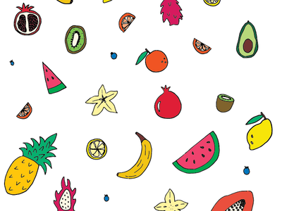 Tropical Fruit 2.0 🍉🍍🥑 brand art repeating pattern fruit branding iconography pattern making vector flat illustration drawing pattern hand drawn illustrator color graphic design design illustration