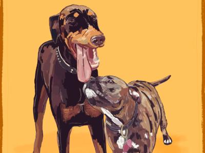 🐶 N E R O N  &  B U F F Y 🐶 graphic design design digital digital art painting vector app texture color hand drawn ipad dogs illustration procreate ipad pro