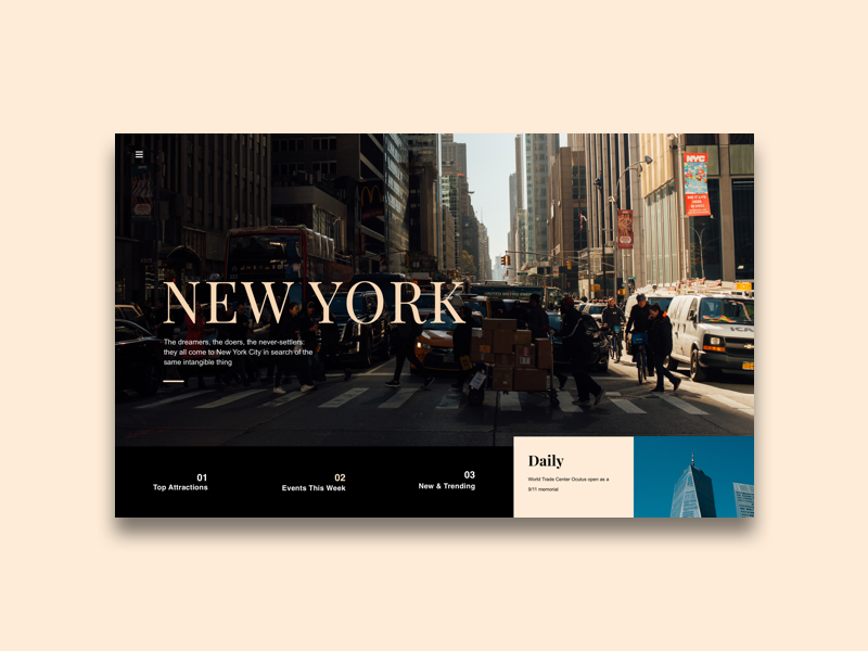 Concept of NYC Go Page york new nyc page landing ux uxui sketch ui daily