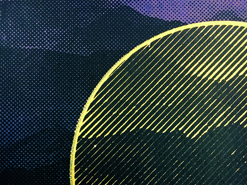 Mountains - Close Up line radial purple gold halftone screen printing screen print mountains