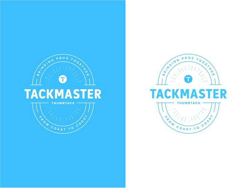 Tackmaster mark badge branding design iterations blue logo identity brand and identity brand