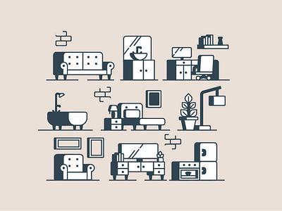 Furniture bed sofa fridge kitchen chair furniture vector icon icon design