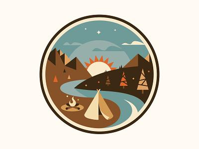 Camping camping sunset mountains river creek