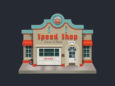 Speed Shop speed shop hotrod nostalgia storefront johnny b goode