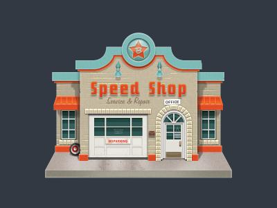 Speed Shop speed shop hotrod nostalgia storefront johnny b goode
