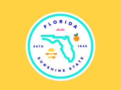 Florida Badge florida badge florida icon pink bird sunset orange state sunshine state florida