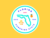 Florida Badge florida badge florida icon pink bird sunset orange state sunshine state florida