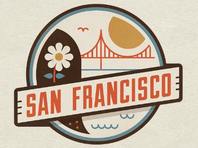 San Francisco city flower badge san francisco badge san francisco logo flat style retro