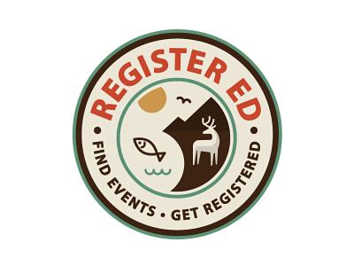 Register-ed logo / badge outdoors fish game badge