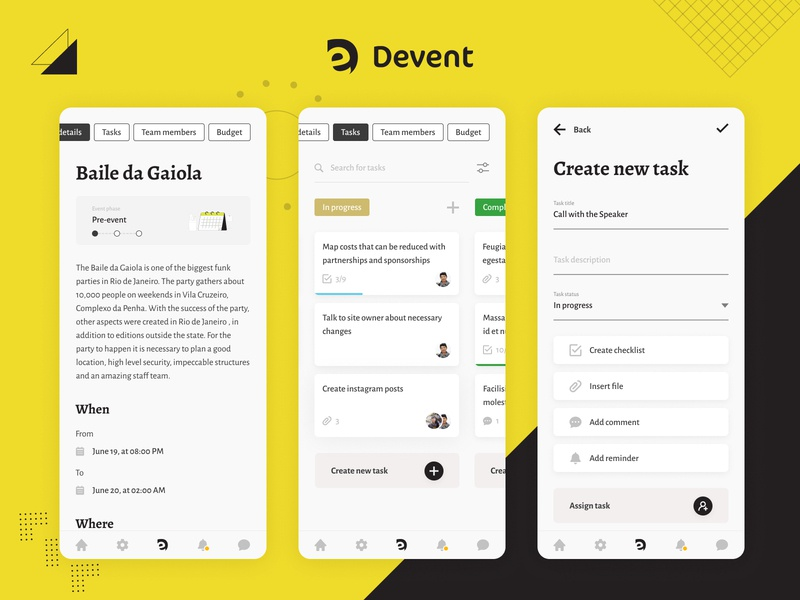 Devent - Event manager app assign task trello kanban uidesign design ux ui task management task manager tasks task events event mobile