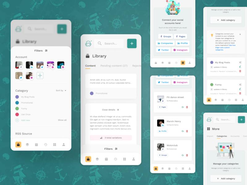 MeetEdgar - Mobile social media social tool mobile app ux design ui