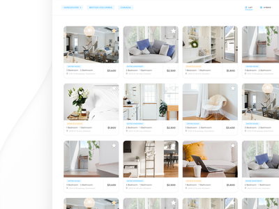 Property Listings Search Results property search results white space web design cards ui website design webdesign website web simplistic simplicity cards user interface ui design white ui startup branding proptech minimal