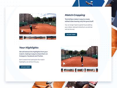 Product Page – Features Descriptions clean webpage landing page landing web design website uidesign branding minimal tennis player tennis ball sports branding match highlights tennis clips match tennis sports sport