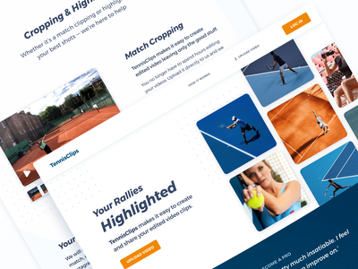 Product Page Design technology light landing page landing grid interface clean branding and identity branding ui design orange blue minimalistic design tennis player tennis sports sport website startup minimal