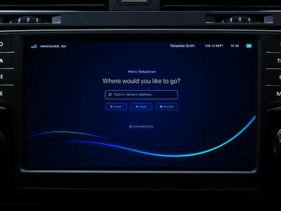 In-Car Display UI visual design navigator blue black dark display screen interface ui electric car self-driving automobile automotive car in-car display