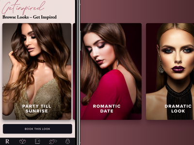 Beauty App UI – Suggestions Cards suggestions app ui ux app ui app b2c makeup innovation tech technology red dark user interface ui fashion photography fashion glamour glam beauty services beauty app beauty