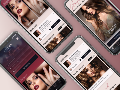 Beauty App UI – Search, Recent Bookings, Suggestions app ui ux app ui app b2c makeup innovation tech technology red dark user interface ui search screen fashion photography fashion glamour glam beauty services beauty app beauty