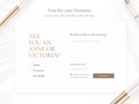 Subscription Form with Voting Poll nudepalette nude classy elegant website voting poll voting subscription form subscription smoking minimal luxury light landing page gold fashion design consumer goods clean branding