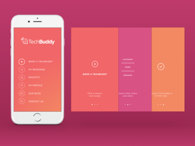 TechBuddy App. Main Menu and Tutorial Screens