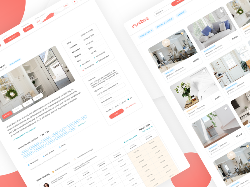 Website UI – REBCA Listings minimal ui minimal proptech website