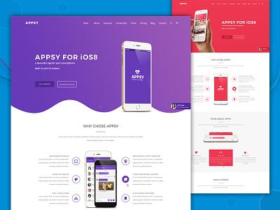 App Landing Page PSD Template | APPSY psd design creative landing page psd template app