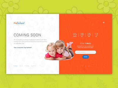 Coming Soon Page Design Concept | PreSchool kindergarten preschool nursery baby child course education kids primary school students coming soon
