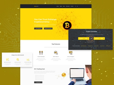 Cryptocurrency Web Template Design coin agency business ux ui online wallet exchange currency exchange digital currency crypto currency blockchain bitcoin
