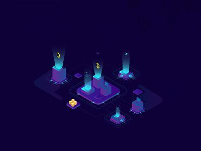 Isometric Blockchain ux ui landing page isometric illustration header design cryptocurrency blockchain bitcoin 3d