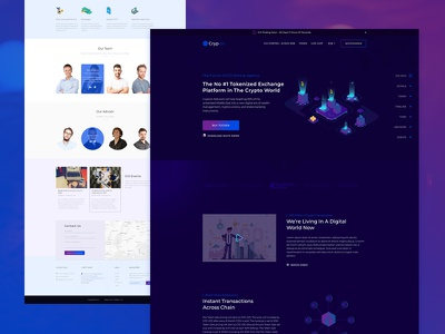 Cryptocurrency Tokenized Exchange Platform Landing Page 3d bitcoin blockchain cryptocurrency design header illustration isometric landing page ui ux