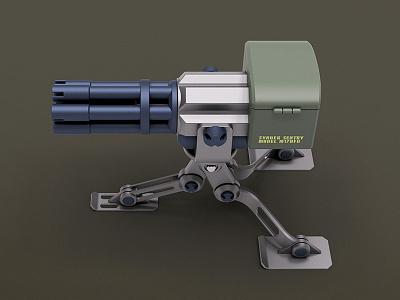 Sentry Gun syndek tripod render gun sentry
