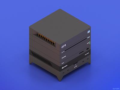 Modular Computer Concept pc syndek burger isometric concept modular system intel computer