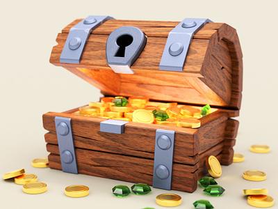 Treasure Chest treasure gold chest render syndek