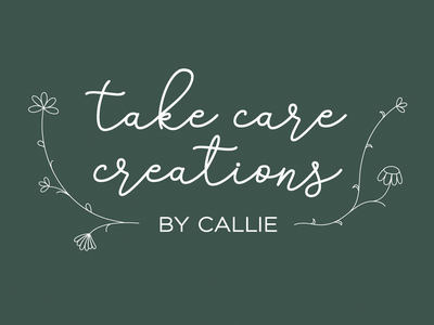 take care creations earthtones dainty handlettering cursive nature flowers illustration logo