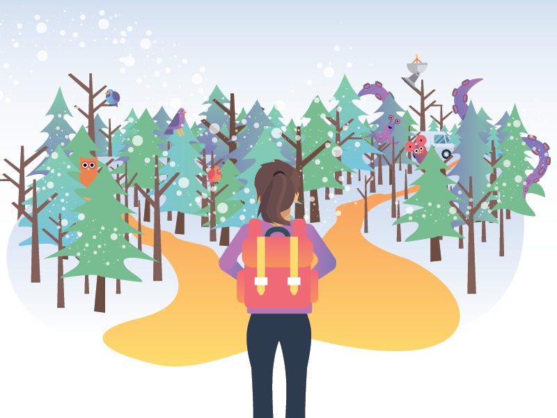 2 Paths in Winter ...with Aliens nsa fbi tentacles aliens owl bird backpack hiker hike winter trees forest