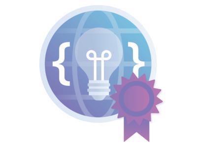 Global idea sharing network award ribbon globe idea lightbulb