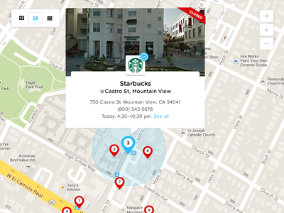 Map View place card map popover location social ui ux web data count