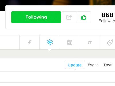 Social Experience menu buttons icons social ui ux web data filters