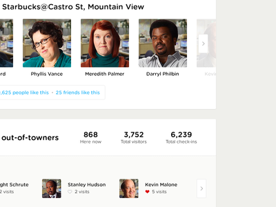 Social Experience components modules carousels sliders social ui ux web info data count aggregate