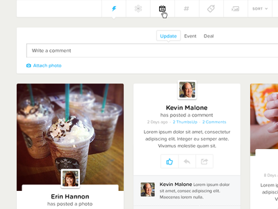 Social Experience components modules social ui ux web grid icons cards