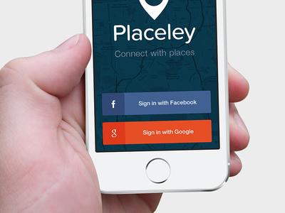 Placeley Login ios7 iphone app mobile login ui ux buttons social places maps